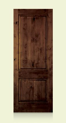 krosswood doors 18 in x 96 in rustic knotty alder 2 panel square top solid wood righthand single prehung interior door unfinished