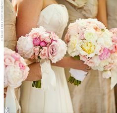 Pink and White Bridesmaid Bouquets