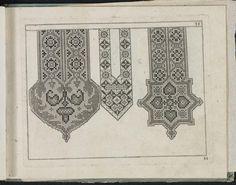 Newes Modelbuch in Kupffer gemacht : darinen aller hand Arth newer Mödel von dun, mittel und dick aussgeschnidener Arbeit auch andern kunstlichen Nehwerck zu gebrauchen mit Vleisz inn Druck verfertigt (1604)  Embroidery designs for shirt fronts.