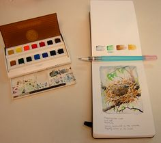 Travel setup, via Flickr.  All I need now is a journal like this.