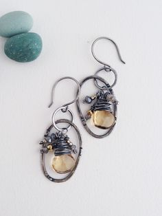 NEW! Warm Honey Multi Gemstone and Fine Silver Oval Hoop Artisan Earrings by katepetersondesigns on Etsy https://www.etsy.com/listing/221944259/new-warm-honey-multi-gemstone-and-fine