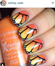 Free handed monarch butterfly wings, over 'tequila sunrise' ombré, w. a black striper. & here I was doubting my freehanding skills! Butterfly Nail Designs, Butterfly Makeup, Monarch Butterfly, Butterfly Wings, Pretty Nail Art, Yellow Nails, Cardcaptor Sakura, Cool Nail Designs, Manicure