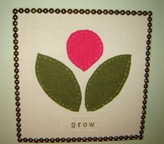 Felted Sweater/Fabric Wall Panel Art with Nailhead Trim - Grow Flower Design 12x12