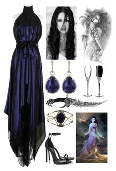 """""""Eris (Goddess of Chaos)"""" by lilacmayn ❤ liked on Polyvore featuring Gareth Pugh, Yves Saint Laurent, Waterford, 7 For All Mankind, Majolie Collections and ADAM"""