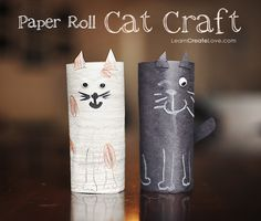 """Simply, """"kindergartenish"""" but a fun thing to do between schoolwork sessions - DLGH Make cats out of toilet paper rolls!"""