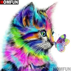 Buy Full Dimond Diamond Diy Cross Stitch Colour the Cat Butterfly Home Decoration Painting Background Wall Art Wallpaper at Wish - Shopping Made Fun Colorful Animal Paintings, Colorful Animals, Cute Animals, Murciano Art, Animal Drawings, Art Drawings, Chat Halloween, Wall Art Wallpaper, Butterfly Watercolor
