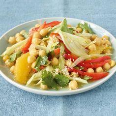 Kichererbsen-Fenchel-Salat Rezept Soup And Salad, Pasta Salad, Salad Dressing, Cabbage, Salads, Food And Drink, Low Carb, Vegetarian, Snacks