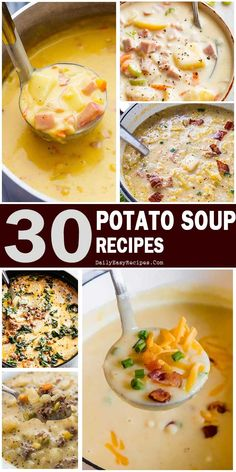 Potato Soups: Perfect Comfort Food For Fall and Winter – Easy Family Recipes Slow Cooker Bacon, Slow Cooker Recipes, Cooking Recipes, Healthy Recipes, Easy Family Meals, Easy Meals, Family Recipes, Soup Recipes, Dinner Recipes