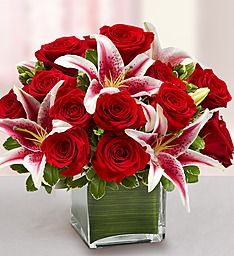 Modern Embrace™ Red Rose and Lily Cube