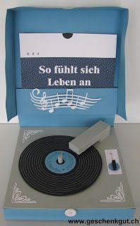 Geschenkverpackung Konzertkarten Plattenspieler Mama Kreativ