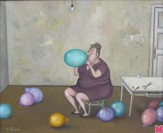 by Valentin Gubarev In Nizhny Novgorod) Red Balloon, Balloons, Sweet Pic, Naive Art, Figure Painting, Contemporary Artists, Caricature, Great Artists, Art History