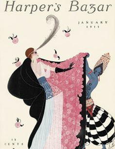 1915: Erté's first cover, for the January issue.    #vintage #harpersbazaar #vintagecover  #fashion #magazine #illustration
