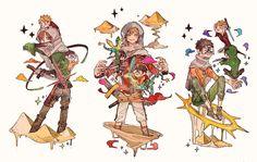 """◎wrwrd Fan Art -vol11- (砂漠攻城戦防衛組) 砂上の楼閣とは呼ばせない"" Dynamic Poses, Five Nights At Freddy's, Fashion Art, Fandoms, Princess Zelda, Kawaii, Fan Art, Twitter, Fictional Characters"