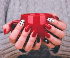 Red and polka dot nails