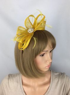 Items similar to Yellow Fascinator Dark Lemon Wedding Fascinator Mother of the Bride Groom Ascot Races Ladies Day Event Prom Occasion on Etsy Hair Fascinators, Wedding Fascinators, Fascinator Hairstyles, Sinamay Hats, Fascinator Hats, Ascot Ladies Day, Occasion Hats, Latest African Fashion Dresses, Hairstyles