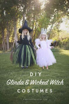 DIY Glinda the Good Witch and Wicked Witch of the West Wizard of Oz costumes - Can't believe how simple (no sewing!) and cheap these are to make!