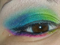 Colorful look using urban decay electric palette. Top: thrash,freak,fringe,gonzo and chaos. Bottom: urban,jilted,savage, and thrash. Inner corner used revolt.