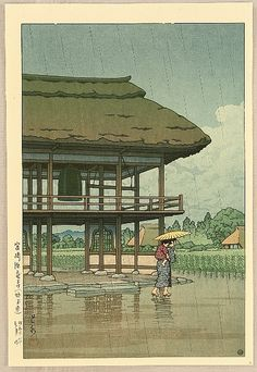 Kawase Hasui (Japanese: 1883 - 1957) - Rain with Umbrella