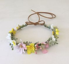 Boho Flower Girl Flower Crown Mixed Flowers Flower by FlowerHungry
