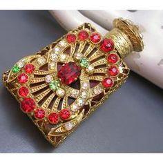 Vintage Amber Glass Jeweled..perfume bottle.