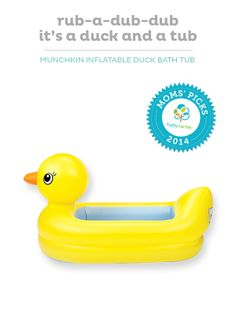 The award-winning Munchkin Inflatable Safety Duck Tub is perfect for bathtime.