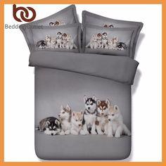 BeddingOutlet 3d Husky Bedding Set Queen Size Cute Animal Dog Print Bed Set For Kids Duvet Cover Gray Bedclothes 3pcs