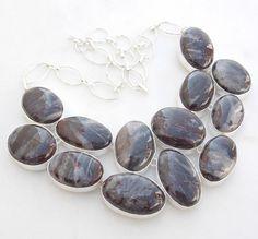 "JASPER GEMSTONE .925 SILVER JEWELRY NECKLACE SIZE 18"" #handmade #Necklace"