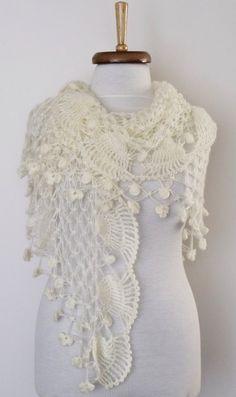 SALESALEJasmine Ivory Bridal Shawl Wrap  wiht by knittingshop, $55.00