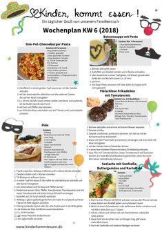 Kinder, kommt essen! Wochenplan mit leckeren Familienrezepten
