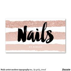 Nails artist modern typography rose gold stripes Double-Sided standard business cards (Pack of 100)