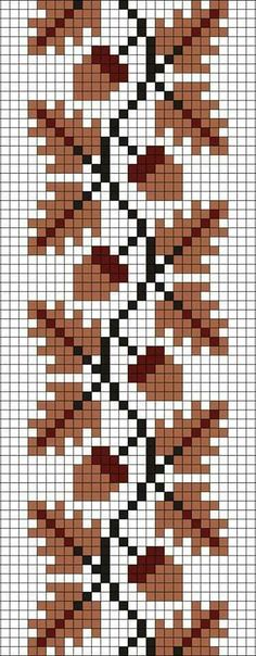 Tree oak and acorn cross stitch.