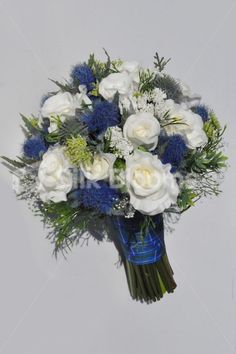 Gorgeous Scottish Artificial Thistle and Ivory Rose Bridal Bouquet with Tartan Ribbon