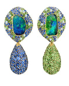 Margot McKinney Objects of Desire 130th anniversary collection earrings with Lightning Ridge opals surrounded by tsavorite garnets, sapphires and diamonds with detachable pendant drops.