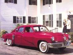 "1948 Tucker Torpedo. Rear-mounted helicopter engine, pop-out windshield, padded dash, a center headlight that turned with the wheels ... amazing. And it inspired Francis Ford Coppola's terrific film ""Tucker: The Man and His Dream."""