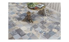 Carrelage BLUE DECOR, aspect béton multicolore, dim 30 x 60 cm - Carrelage - Collection Sol - Saint Maclou