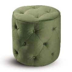 Curves Tufted Round Ottoman In Green Color