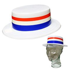 "Privateislandparty.com - Patriotic Skimmer Hat White Plastic 1513 $1.90 One size fits most adults. Approximately 22"" circumference around inside of hat. Made of sturdy plastic. White hat with with the patriotic colors of red, white and blue! Great for Memorial Day, USA patriotic events, voting days, and of course 4th Of July!"