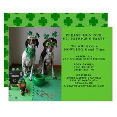 St. Patrick's Party Dogs with Shanrocks Invitation - st patricks day gifts Saint Patrick's Day Saint Patrick Ireland irish holiday party