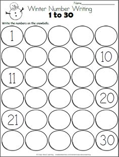 FreeSnowball Math worksheet. Write the numbers from 1 to 30 on the snowballs. A few numbers are filled in for you.