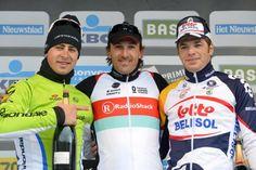 Top three at the 2013 Tour of Flanders (L-R): Peter Sagan, Fabian Cancellara and Jurgen Roelandts
