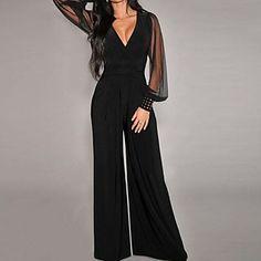 Women's Black Embellished Cuffs Long Mesh Sleeves Jumpsuit - EUR € 17.99