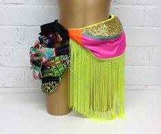 Fringe and Flashtastic!! Glitter neon fannypack bumbag splash proof bum bag fanny pack gold, pink, orange, yellow with tassels