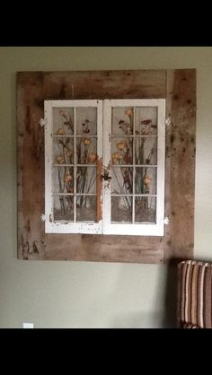 Old windows in a old barn wood frame my husband helped me with! Love it! - Craft ~ Your ~ Home Barn Wood Crafts, Barn Wood Projects, Old Barn Wood, Salvaged Wood, Recycled Windows, Old Windows, Barn Windows, Vintage Windows, Window Frame Art