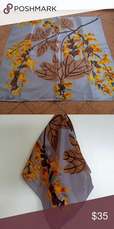 Vintage Vera Neumann Scarf Beautiful vintage scarf from Vera Neumann in pale purple with brown leaves and orange and yellow flowers. Perfect vintage condition. Measures 22 inches square. Vintage Accessories Scarves & Wraps
