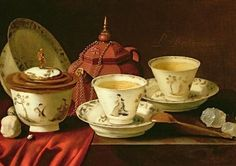 """""""A Yixing Teapot and a Chinese Porcelain Tete-a-Tete on a Partly Draped Ledge"""" Artist: Pieter Gerritsz. van Roestraten (1629 or 1630-1700) Museum: Private Collection."""