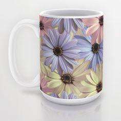 15 OZ  #Pink #Yellow #Blue #Daisy #Mug by Loredana | Society6