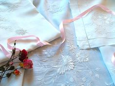 French Vintage Linen Sheet and 2 Cases with by Vintagefrenchlinens, $1275.00