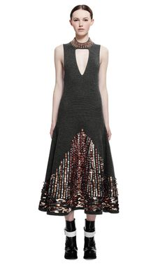 Metallic Embroidery On Ribbed Stitch Wool Dress by Kenzo for Preorder on Moda Operandi