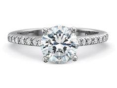 Precision Set Petite FlushFit Half Round Engagement Ring with French Cut Diamond Channel Set Shank style#7259
