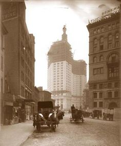 Municipal Building under construction, 1904. McKim. No cars.   New York Architecture Images- black and white new york
